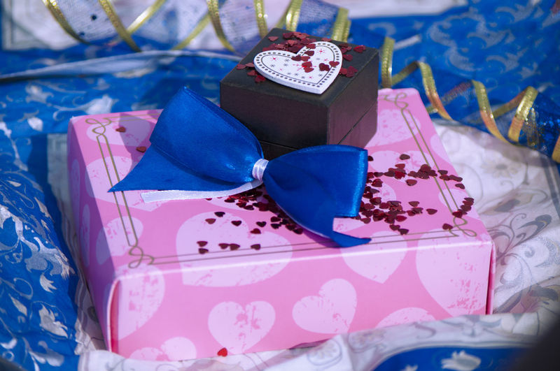 No People Valentine Object Congratulate Blue Pink Red Glitter Packaging Congratulations Heart Bow Love Attention Gift Box - Container Gift Box Celebration No People Still Life Pink Color Close-up Boxes