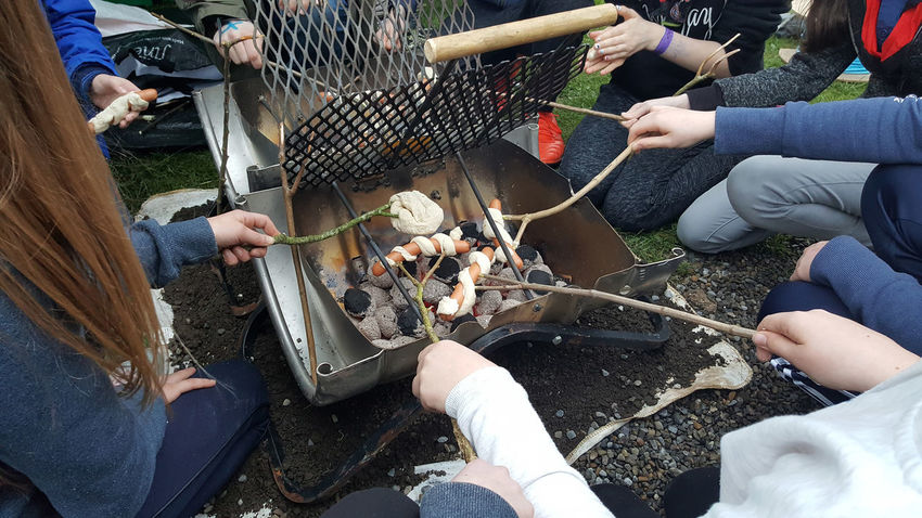 Backwoods Cooking Casual Clothing Cooking Hands Medium Group Of People Outdoor Cooking Outdoors Sausages Scouts