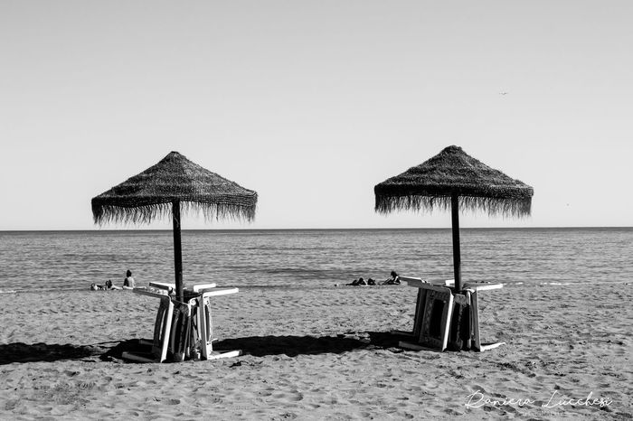 Beach Horizon Over Water Malaga Spain Nature Ombrelloni Relaxation Sand Sea Sole Spiaggia Sole Mare Sunnyday Vacations Water