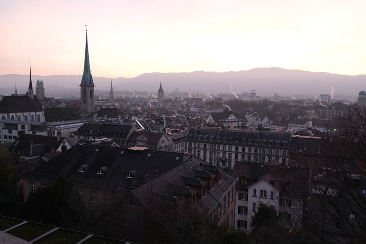 High angle view of buildings from drone in zürich