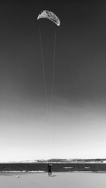 Little but smart Man Parachute Sport Sports Nautical EyeEm EyeEmNewHere Water Beach Sea Full Length Sand Sky Horizon Over Water Shore Surfer Windsurfing Paragliding Parasailing Water Sport Surf #FREIHEITBERLIN