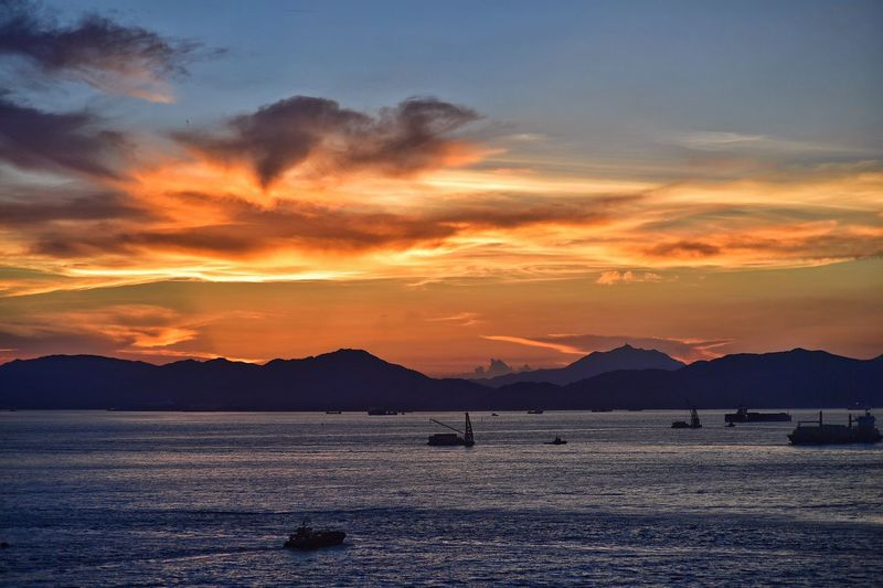 Orange sunset Check This Out Fresh On Eyeem  HongKong Hong Kong Nature Landscape Dusk Sunset Ships Victoria Harbour 43 Golden Moments
