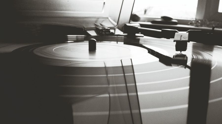 Extreme close-up of turntable