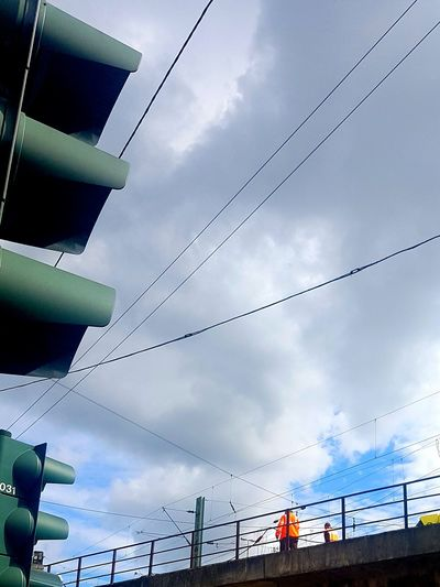 Sky Sky_collection Blue Sky And Clouds Blue Sky And White Clouds White Clouds Traffic Lights Orange People Bridge City Life My City Summertime Street Photo Street Life Colour Of Life Power Cable Electric Cable Electric Wire Galaxy S7 Edge