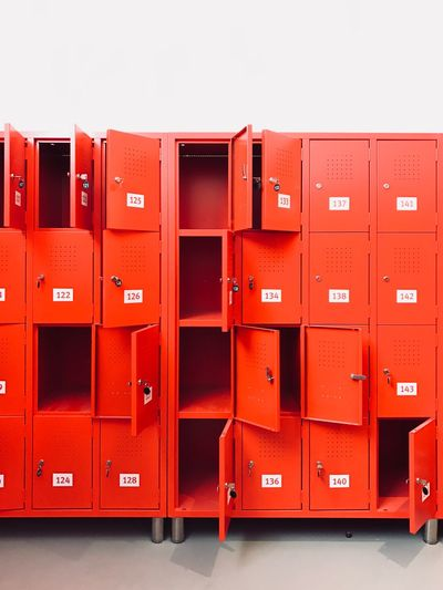 Red Filing Cabinet Indoors  Stack Order In A Row File Container Large Group Of Objects Storage Compartment Locker No People Repetition Side By Side Group Of Objects Arrangement