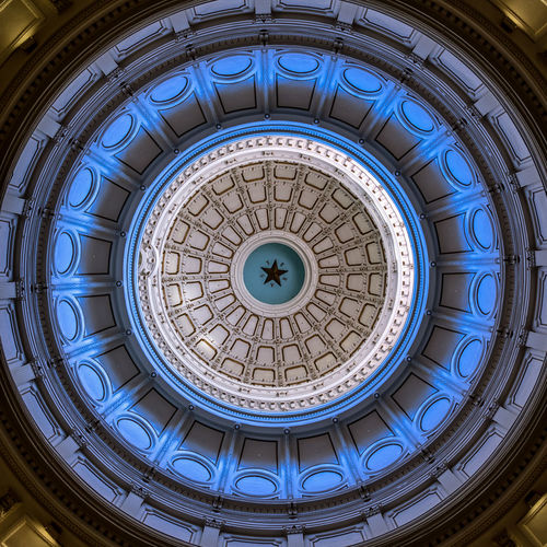 Directly above shot of patterned ceiling in texas state capitol