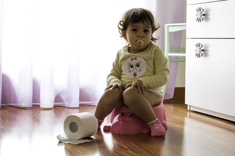 Potty training Baby Girl Backlight Backlit Backlit Sunset Childhood Curly Hair Curtain Cute Front View Home Interior Indoors  Innocence Lifestyles Pacifier Person Pink Pink Color Plastic Potty Potty Time Potty Training Real People Relaxation Sitting Toilet Paper