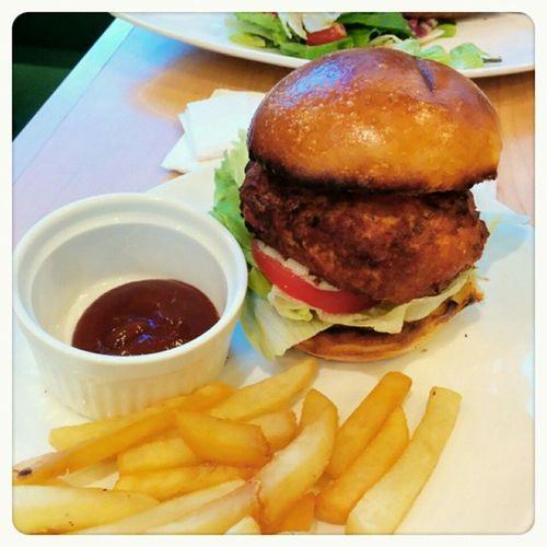 三文魚漢堡 @food