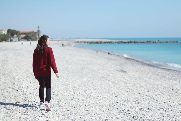 Sea One Person Young Adult One Woman Only Beach Water Seaside People Walking Spring At The Beach Morning Mediterranean