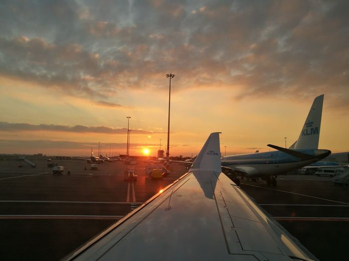 aviation Sunset Travel Transportation Cloud - Sky Sky No People Business Finance And Industry Airplane Travel Destinations Outdoors Water Aerospace Industry KLM Embraer Schiphol Airport EyeEmNewHere
