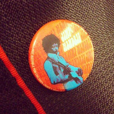 Jimi Hendrix Button College bag notice the warning text on the left