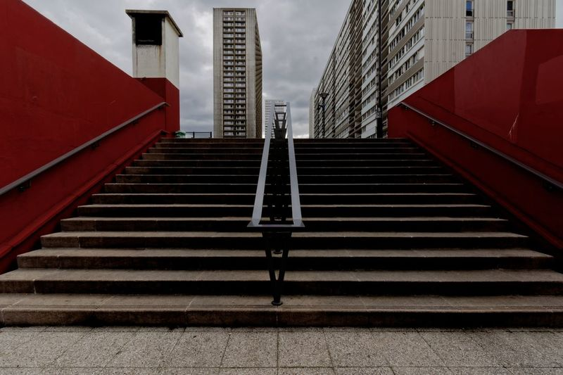 The red stairway 🇫🇷 Absence Architecture Building Building Exterior Built Structure City Day Diminishing Perspective Direction Empty Metal No People Outdoors Railing Red Staircase Steps And Staircases The Way Forward