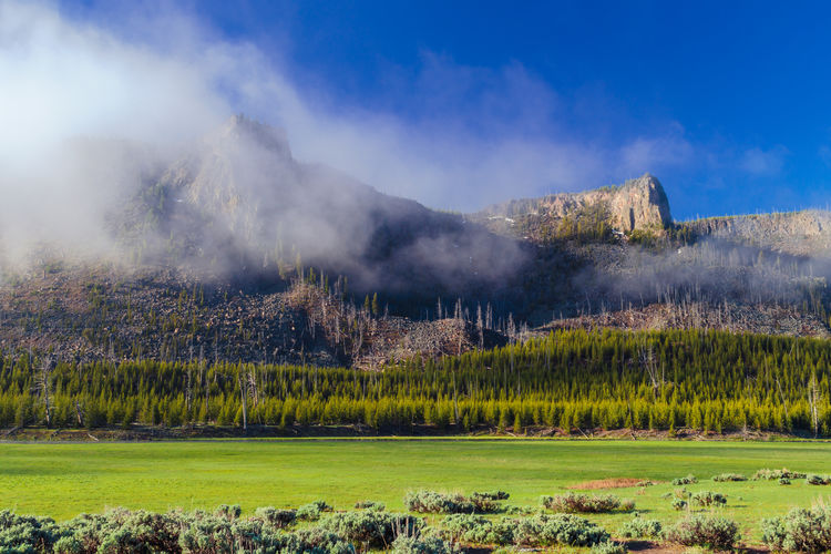 Scenic view of mountains against clear sky at yellowstone national park