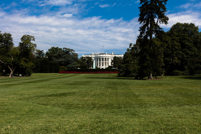 Architecture Building Exterior City Day Grass Green Color Growth Nature No People Outdoors Sky The White House Tree