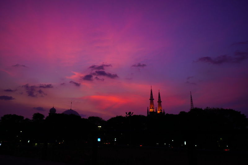 two minaret Portfolio Of Arif Wibowo Photograph By Jgawibowo Portfolio Of Jgawibowo Katedral Twilight View Twilight Photography By Jgawibowo Banteng Square Sunset Astronomy Silhouette Technology Pink Color Dramatic Sky Sky Cloud - Sky Architecture Landscape