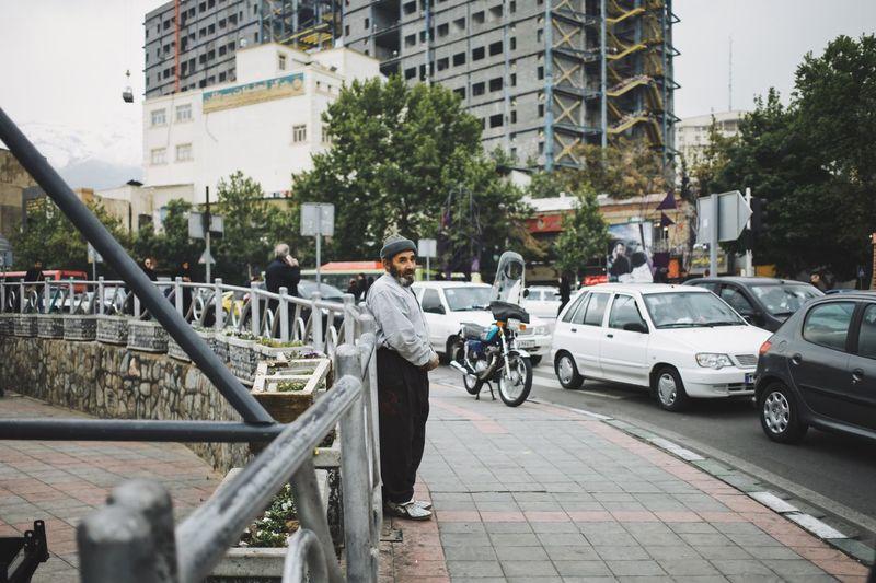 Man on street in city