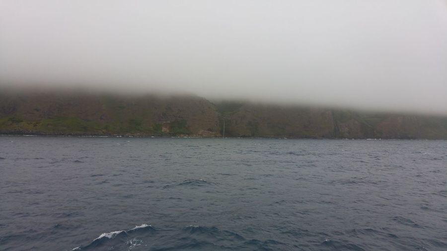 Atlantic Ocean Sao Jorge Island Ocean Foggy Weather Clouds And Sky Boat Azores Islands