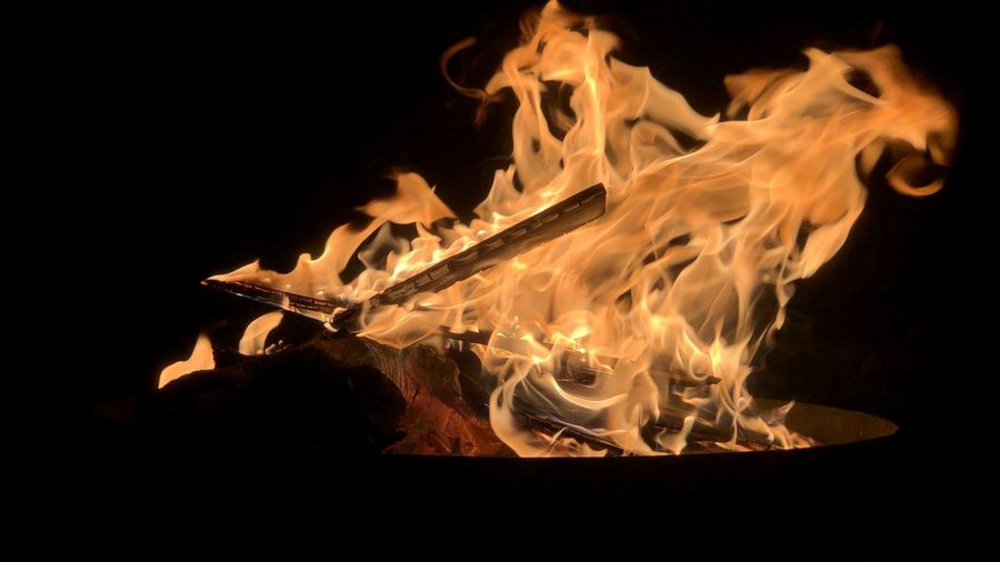 Close-up of bonfire in dark