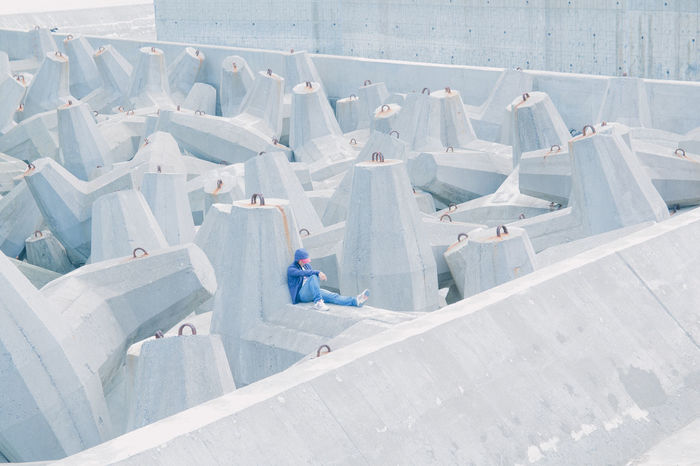 High angle view of man in white structure