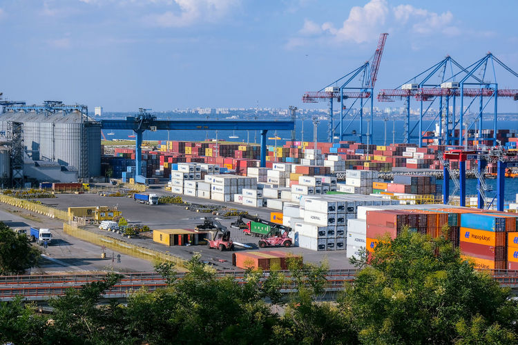 View of commercial dock against sky