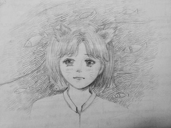 Girl cat. Design Sad Art Love Cute Drawing Beautiful Girl Eyes Manga Hair Anime Portrait Better Together Relaxing Lookingup Enjoying Life