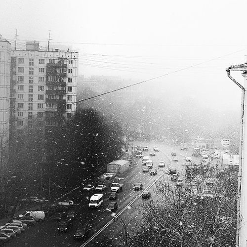 On the last day of march in the street snowfall
