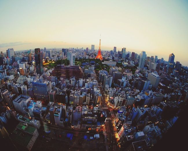 High Angle View Of Cityscape And Tokyo Tower Against Sky