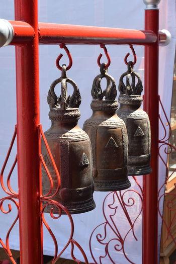 Close-up of metal bells