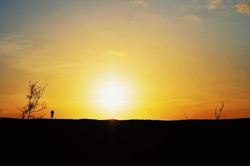 Sunset Silhouette Orange Color Sky Landscape Romantic Sky Dramatic Sky Atmospheric Mood Atmosphere Dramatic Landscape Idyllic Sun Shining