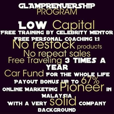 Start your journey with GLAM! Low Capital, Big Income, just in GLAM. Glampreneurs Greenleaders Hanishaizi Success bigincome online marketing linazahrah linazahrahdotcom