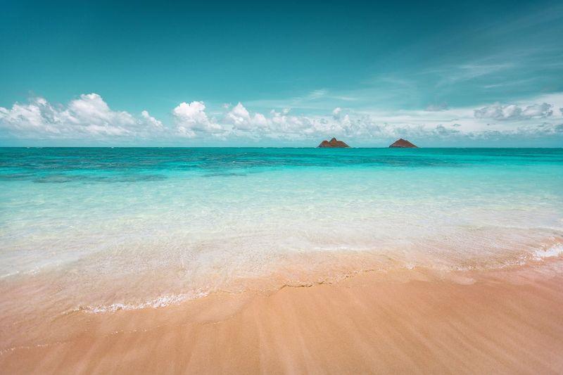 lanikai beach Mokuiki Mokunui Honolulu, Hawaii Honolulu  Hawaii Life Hawaii Lanikai Beach Lanikai  Sea Sky Water Land Cloud - Sky Horizon Over Water Beach Beauty In Nature Scenics - Nature Blue Sand