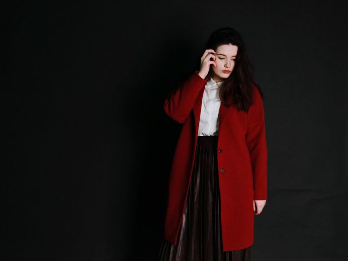 Red One Person One Woman Only Long Hair Only Women Studio Shot Front View Adults Only Standing Young Adult Black Background People Adult One Young Woman Only Beautiful Woman Day Beauty Canon Plain Background Dark Portrait Women Indoors  Fashion Photography Fashionstyle