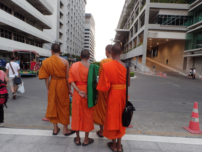 Monks Walk Walking Rear View Group Of People Bangkok Thailand