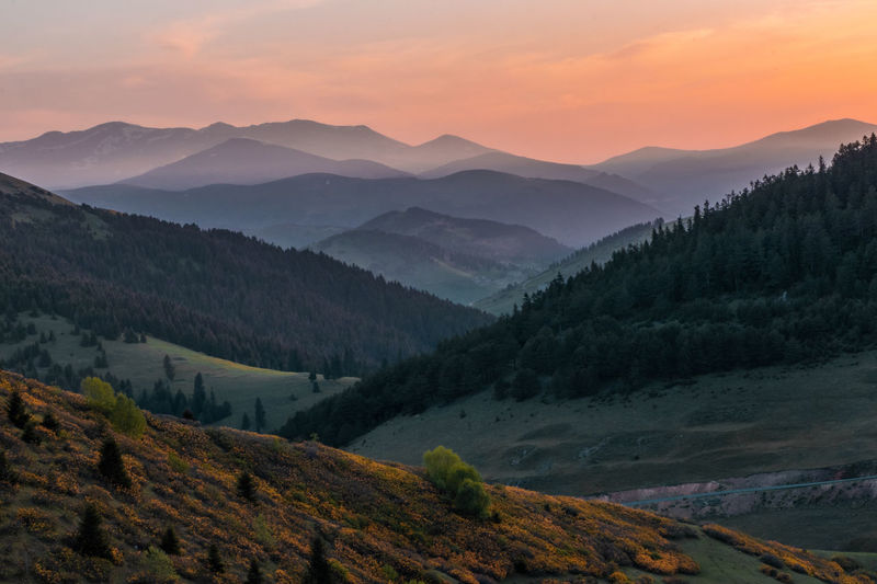 Beautiful scenery of some mountains at sunset