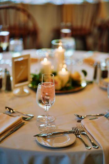 Wineglasses on table in restaurant