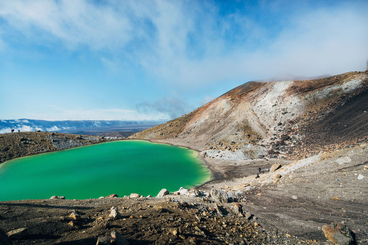 Tongariro National Park Beauty In Nature Cloud - Sky Day Environment Formation Geology Idyllic Landscape Mountain Mountain Range Nature No People Non-urban Scene Outdoors Rock Rock - Object Scenics - Nature Sky Solid Tranquil Scene Tranquility Turquoise Colored Volcanic Crater Water The Great Outdoors - 2018 EyeEm Awards