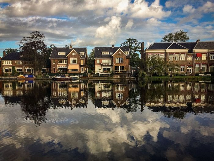 Water Reflections in Haarlem Netherlands IPhoneography Cityscapes Architecture Waterfront Sky Reflection Building Exterior Built Structure Atmosphere