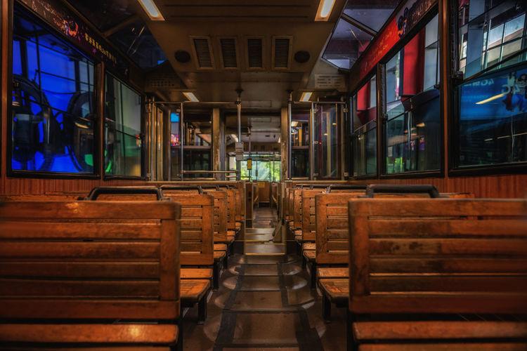 Interior of empty peak tram