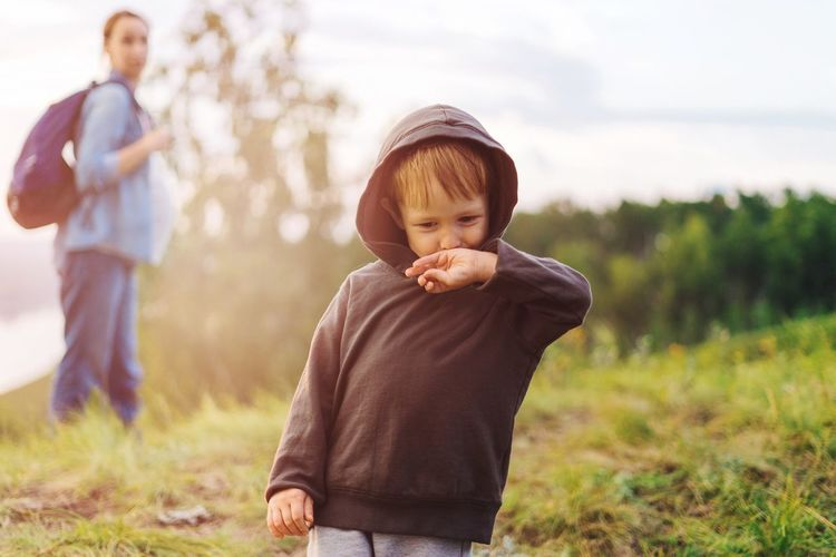 Boy with Mother on the Nature Leisure Activity Childhood Casual Clothing Lifestyles Outdoors Child Mothers Sunny Evening Freedom
