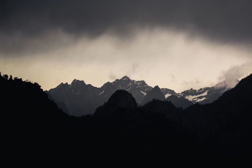 Arrival of the Storm Mountain Sky Scenics - Nature Beauty In Nature Mountain Range Tranquil Scene Tranquility Cloud - Sky Nature Non-urban Scene Environment No People Landscape Silhouette Idyllic Outdoors Mountain Peak Dark darkness and light Weather Monsoon Storm Storm Cloud Himalayas Majestic