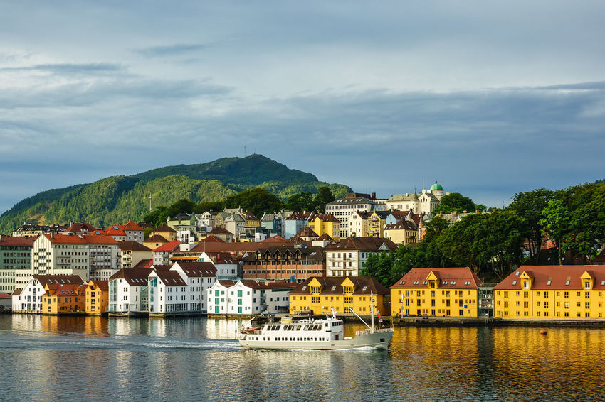 View to the city Bergen in Norway. Architecture Bergen City Cityscape Norway Relaxing Scandinavia Travel Architecture Building Exterior Built Structure Byfjord Fjord Hordaland Journey No People North Ship Sky Tourism Town Travel Destinations Vacation Vessel Water