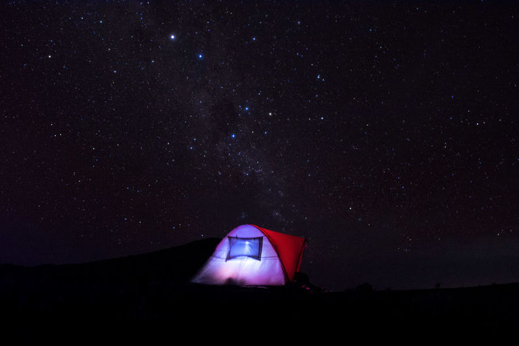 Star-studded night in the crater of mount tambora