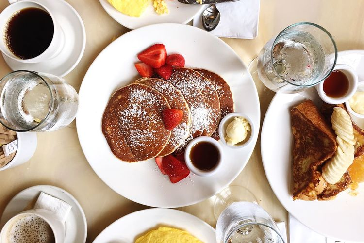 Directly above shot of pancakes served on table