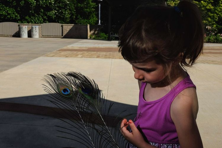 Close-Up Of Girl With Peacock Feather Standing In City