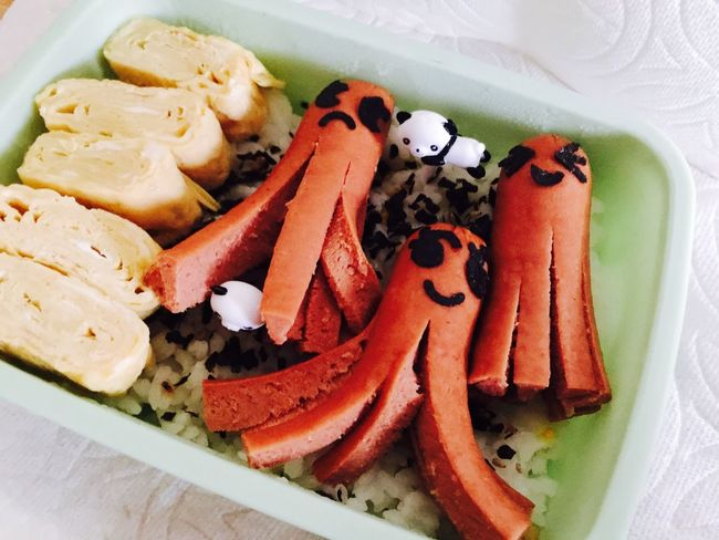 My mom made me bento for lunch 😊 rice , furikake, tamagoyaki, and octopus hotdog Food Close-up No People Octopus Bento Bento Box Tamagoyaki Rice Oahu, Hawaii Furikake Live,love,Hawaii Home Lunch Happiness Tasty Made With Love Delicious Japanese  KAWAII So Cute Pretty Makes Me Happy Makes Me Smile Food Stories
