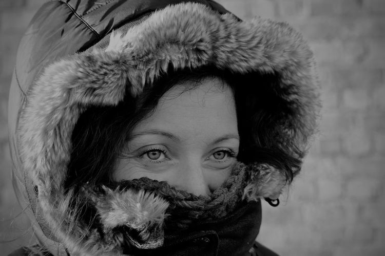 Close-Up Of Woman Wearing Warm Clothing During Winter