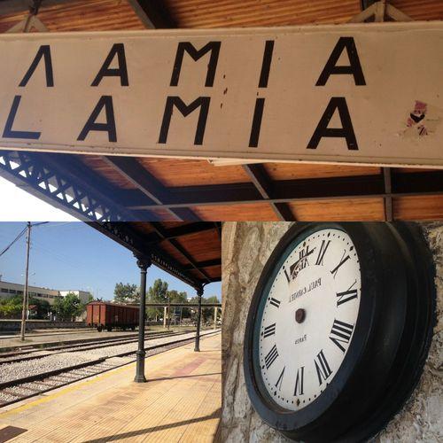 Railway Station Old Clock Vintage Multiframe Sythesis Lamía Greece Hellas