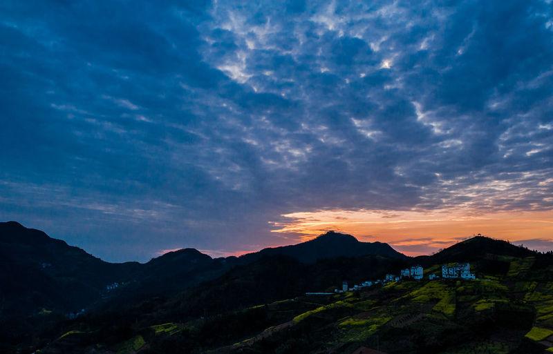 中国安徽歙县 坡山村的日落