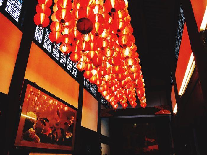 Illuminated Lantern Low Angle View Chinese Lantern Hanging Chinese Lantern Festival No People Architecture Indoors  Paper Lantern Night
