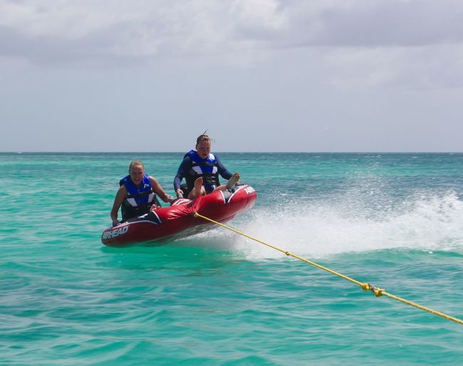 People Of The Oceans Need For Speed Ocean Aruba Red Blue Blue Sky Summertime Having A Good Time Water Sports